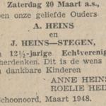 Heins en Stegen, 20-3-1948, 12,5 jarig huwelijk