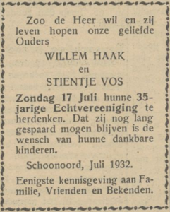 Haak en Vos, 17-7-1932, 35 jarig huwelijk