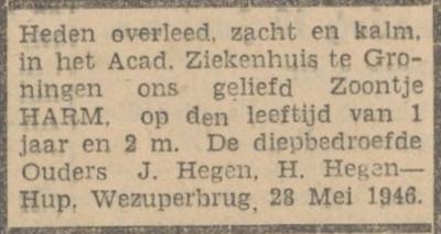 Harm Hegen, 28-5-1946, overlijdensadvertentie