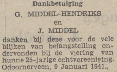 Hendriks en Middel, 13-11-1940, 25 jarig huwelijk