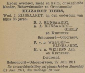 Elizabet Hers, 27-7-1911, overlijdensadvertentie