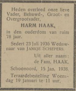 Harm Haak, 15-1-1938, overlijdensadvertentie