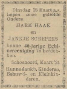 Haak en Schepers, 18-3-1924, 40 jarig huwelijk