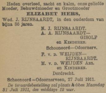 Elizabeth Hers, 27-7-1911, overlijdensadvertentie