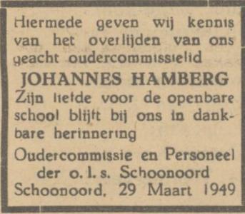 Johannes Hamberg, 29-3-1949, overlijdensadvertentie