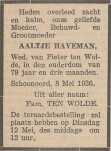 Aaltje Haveman, 8-5-1936, overlijdensadvertentie