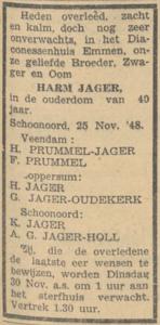 Harm Jager, 25-11-1948, overlijdensadvertentie