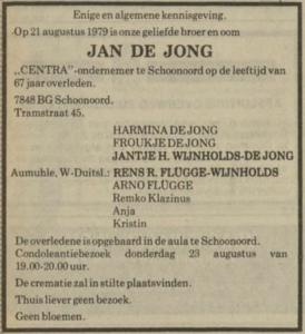 Jan de Jong, 21-8-1979, overlijdensadvertentie