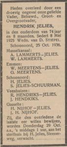 Hendrik Jelies, 25-10-1936, overlijdensadvertentie