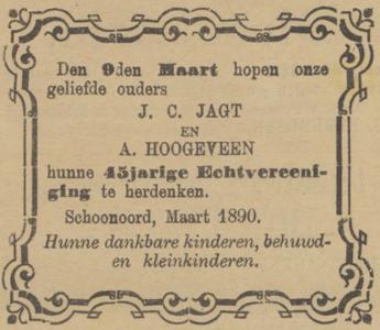 Jagt en Hoogeveen, 3-1890, 45 jarig huwelijk