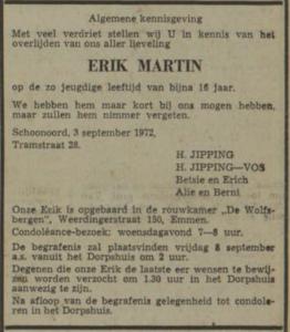 Erk Martin Jipping, 3-9-1972, overlijdensadvertentie