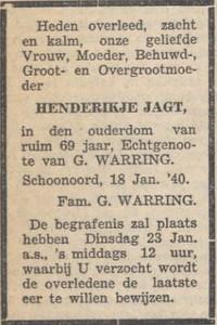 Hendrikje Jagt, 18-1-1940, overlijdensadvertentie