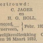 Jager en Hol, 2-1932, ondertrouw