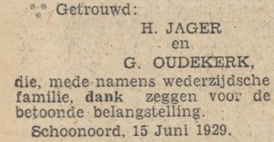 Jager en Oudekerk, 15-6-1929, huwelijksadvertentie