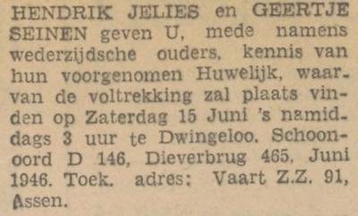 Jelies en Seinen, 6-1946, ondertrouwd