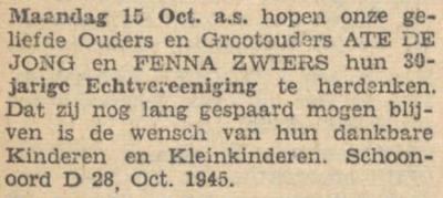 de Jong en Zwiers, 15-10-1945, 30 jarig huwelijk