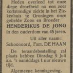 Henderikus de Jong, 5-7-1929, overlijdensadvertentie