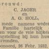 Jager en Holl, 26-2-1932, huwelijksadvertentie