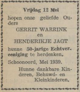 Warrink en Jagt, 12-5-1939, 50 jarig huwelijk