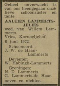 Aaltien Jelies, 6-6-1972, overlijdensadvertentie