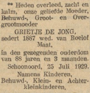 Grietje de Jong, 25-7-1929, overlijdensadvertentie