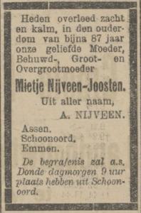 Mietje Joosten, 30-5-1922, overlijdensadvertentie