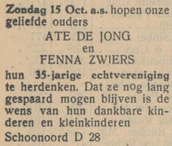 de Jong en Zwiers, 15-10-1950, 35 jarig huwelijk