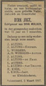 Derk Jagt, 5-3-1927, overlijdensadvertentie