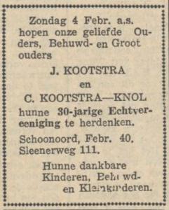 Kootstra en Knol, 4-2-1940, 30 jarig huwelijk
