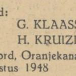 Klaassens en Kruizinga, 24-8-1948, huwelijksadvertentie