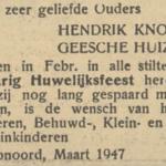 Knol en Huizing, 6-2-1947, 50 jarig huwelijk