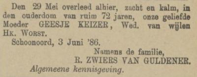 Geesje Keizer, 29-5-1886, overlijdensadvertentie