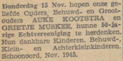 Kootstra en Muskee, 15-11-1945, 50 jarig huwelijk