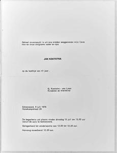 Rouwkaart Jan Kootstra