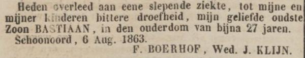 Bastiaan Klijn, 6-8-1863, overlijdensadvertentie