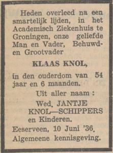 Klaas Knol, 10-6-1936, overlijdensadvertentie