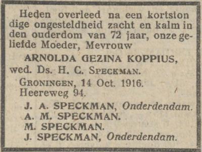 Arnolda Gezina Koppius, 14-10-1916, overlijdensadvertentie