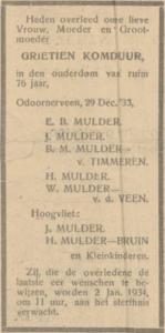 Grietien Komduur, 29-12-1933, overlijdensadvertentie