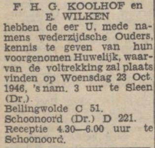 Koolhof en Wilken, 1946, ondertrouwd