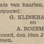 Klinkhamer en Rozema, 16-7-1931, huwelijksadvertentie