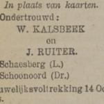 Kalsbeek en Ruiter, 1921, ondertrouwd