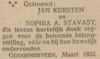 Kersten en Stavast, 9-3-1922, huwelijksadvertentie