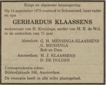 Gerhardus Klaassens, 14-9-1975, overlijdensadvertentie