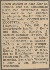 Corneliske Knol, 1-2-1946, overlijdensadvertentie