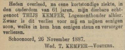 Thijs Kemfer, 26-11-1887, overlijdensadvertentie