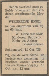 Wiegertje Knol, 11-10-1936, overlijdensadvertentie