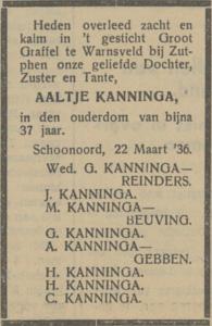 Aaltje Kanninga, 22-3-1936, overlijdensadvertentie,