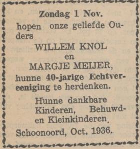 Knol en Meijer, 1-11-1936, overlijdensadvertentie