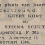 Kort en Schut, 17-2-1944, ondertrouwd