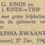 Roelfina Zwaantina Kinds, 27-12-1948, geboorteadvertentie